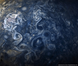 Jupiter's Blues caught by Juno Space Telescope in 2016