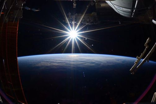 last day on International Space Station NASA astronaut caputured this view of the sun over the earth. June 11, 2015