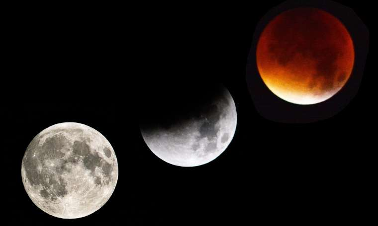 The phases of the super Blue Blood Moon from The Guardian Staff