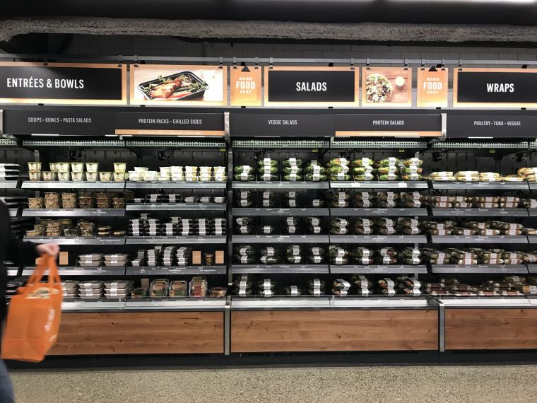 Salad section of Amazon Go image recode