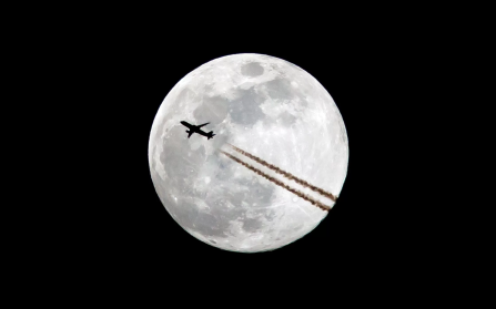 BLUE MOON WITH JET FLYING 2018